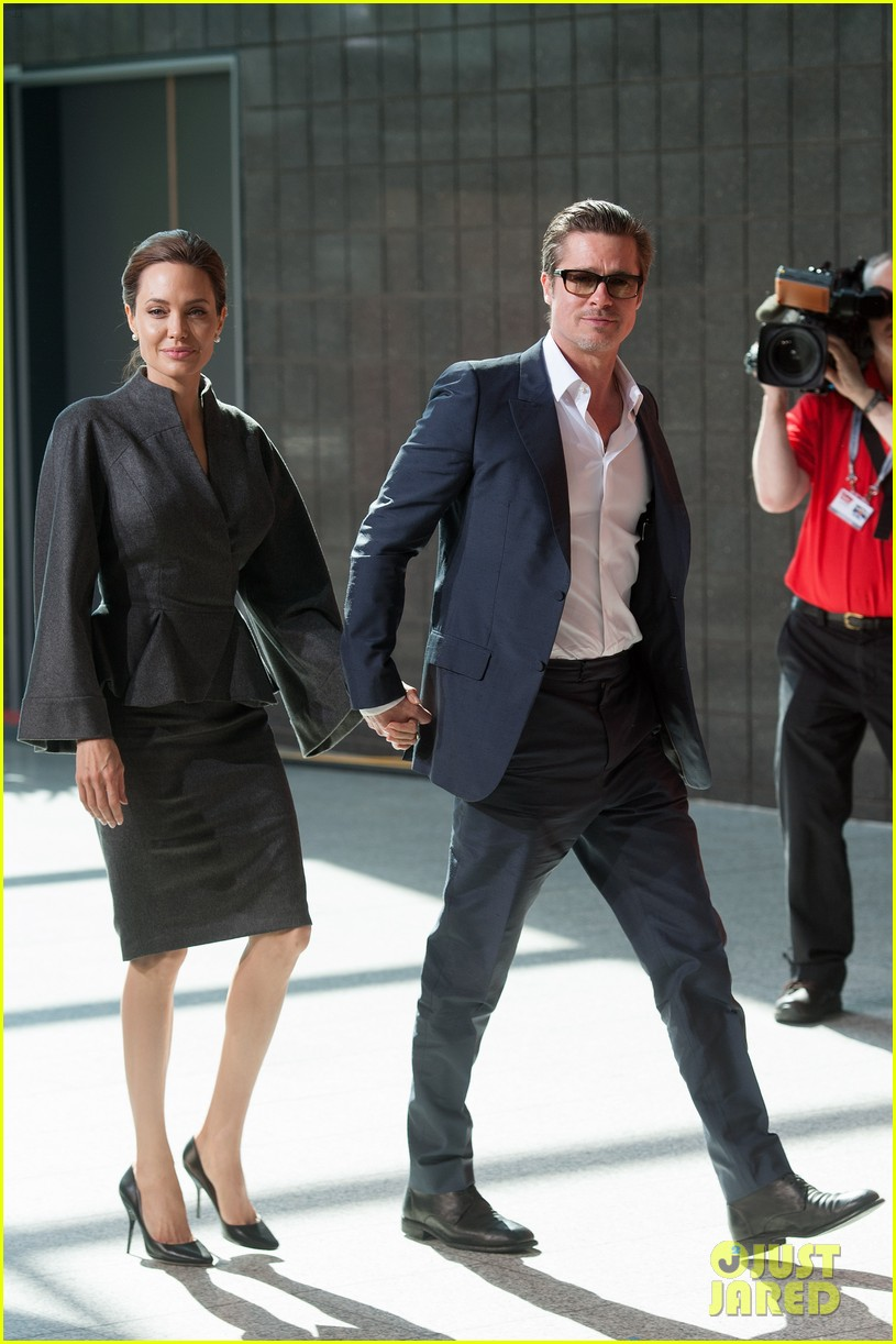 angelina jolie brad pitt keep hand in hand at the global summit end sexual violence 143134592