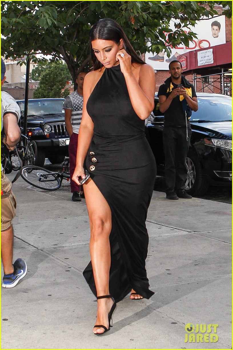 kim kardashian shows off legs for days sexy slit dress 243144321