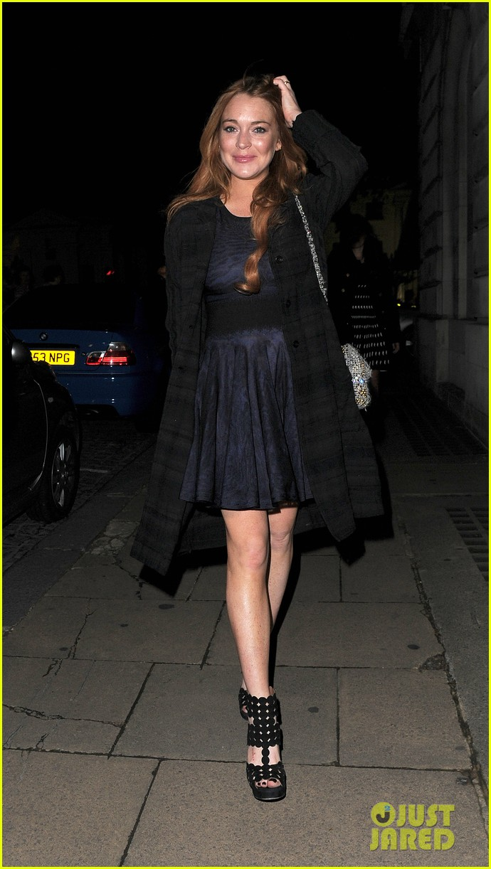 lindsay lohan changes up her look to evening wear for night out 05