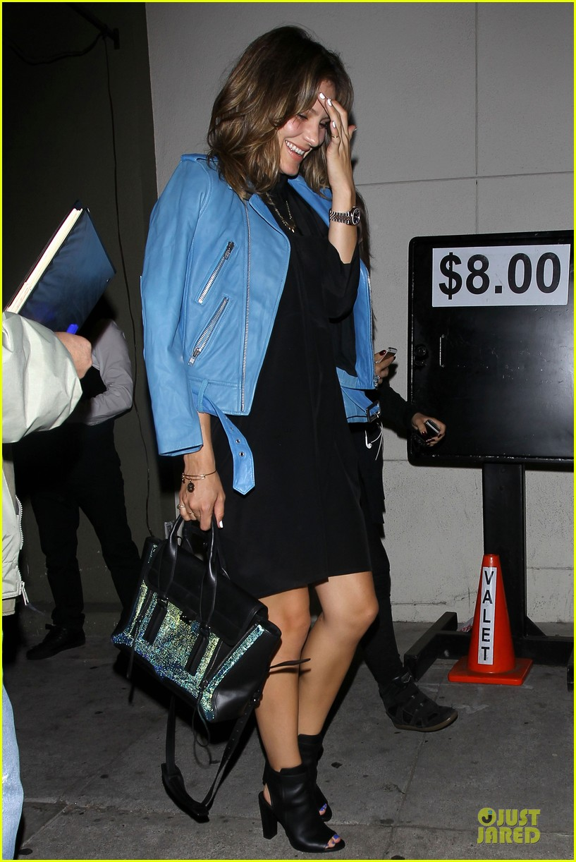katharine mcphee likes to pair black with cool colored jackets 053137602