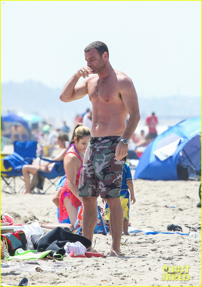 liev schreiber shirtless beach fathers day 213136554