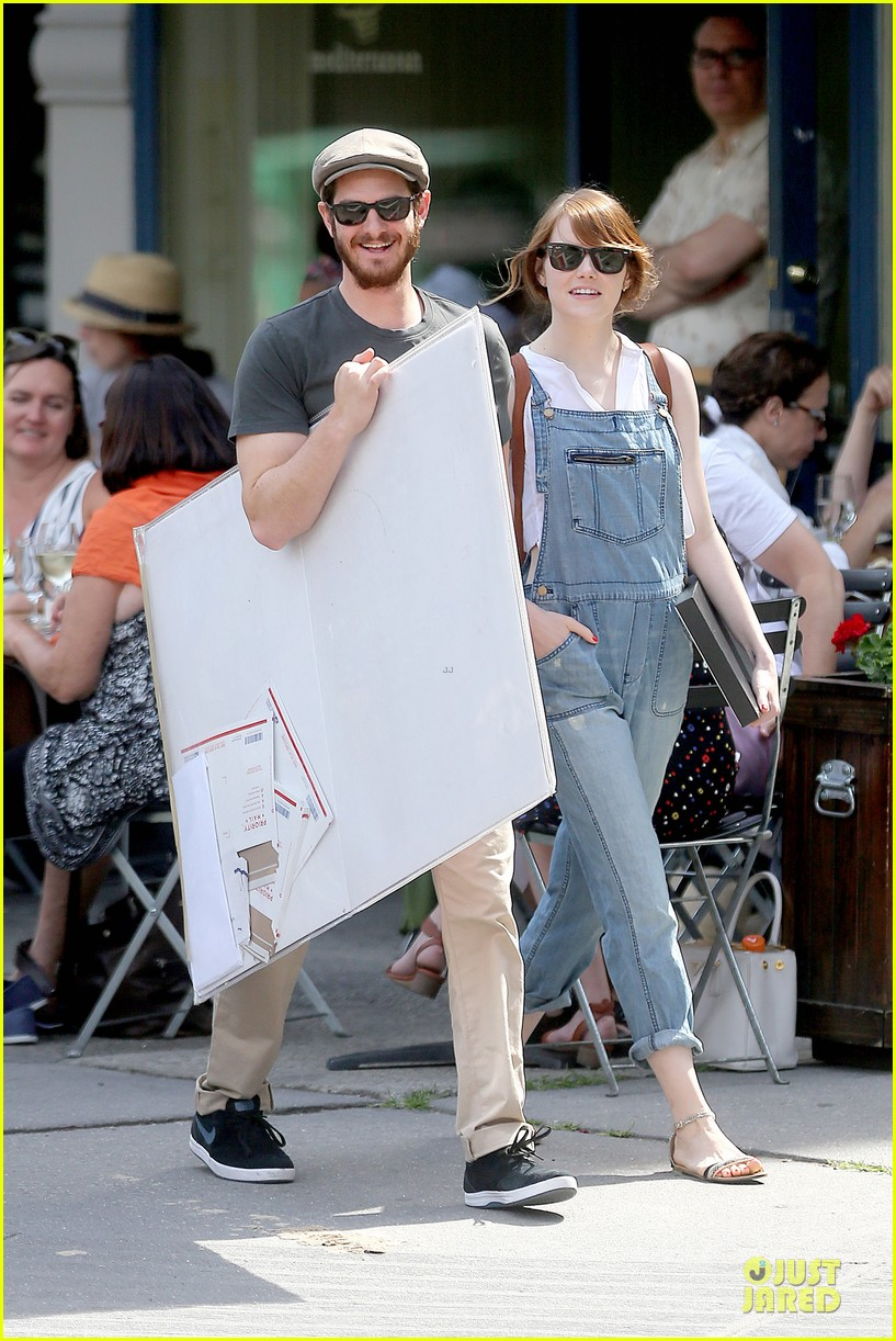 emma stone looks trendy in overalls andrew garfield 103140788