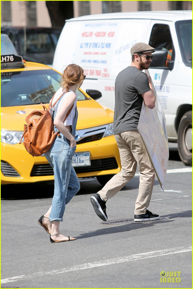 emma stone looks trendy in overalls andrew garfield 213140799