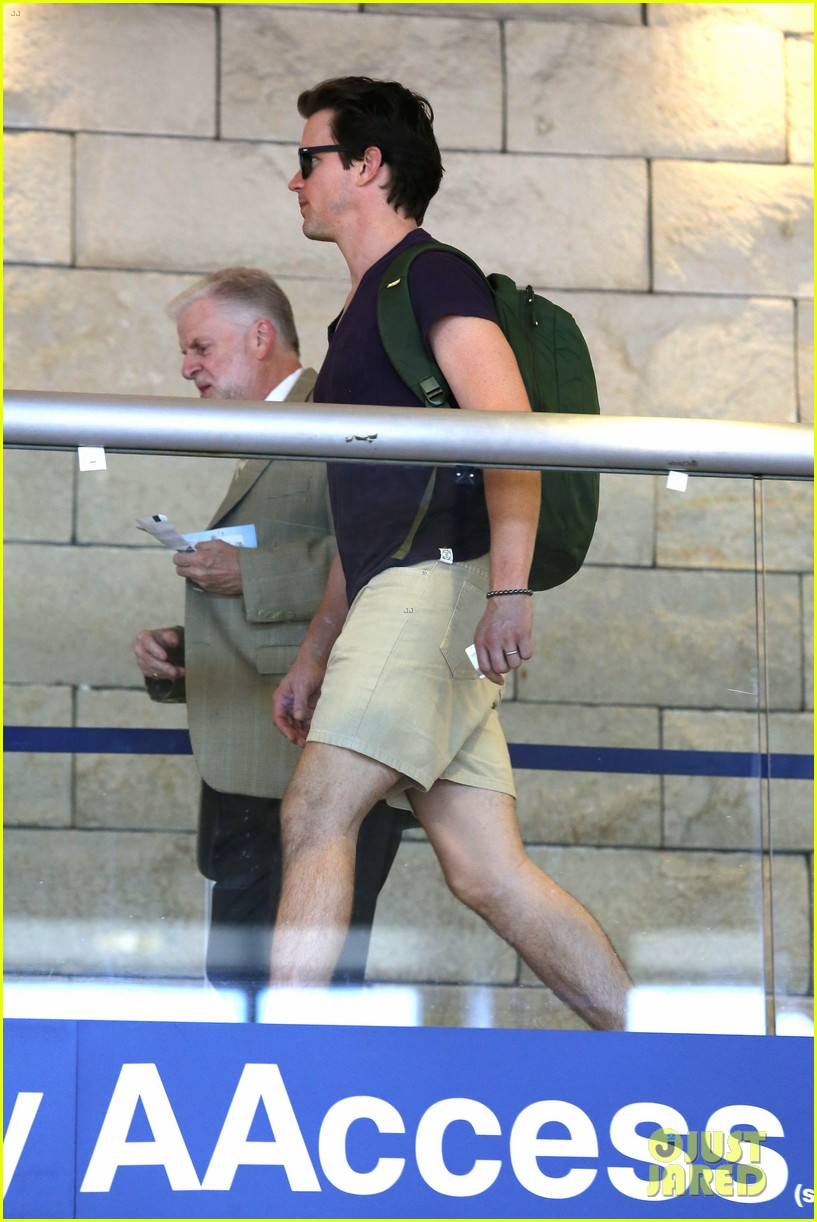 matt bomer wears short shorts at the airport 103150554