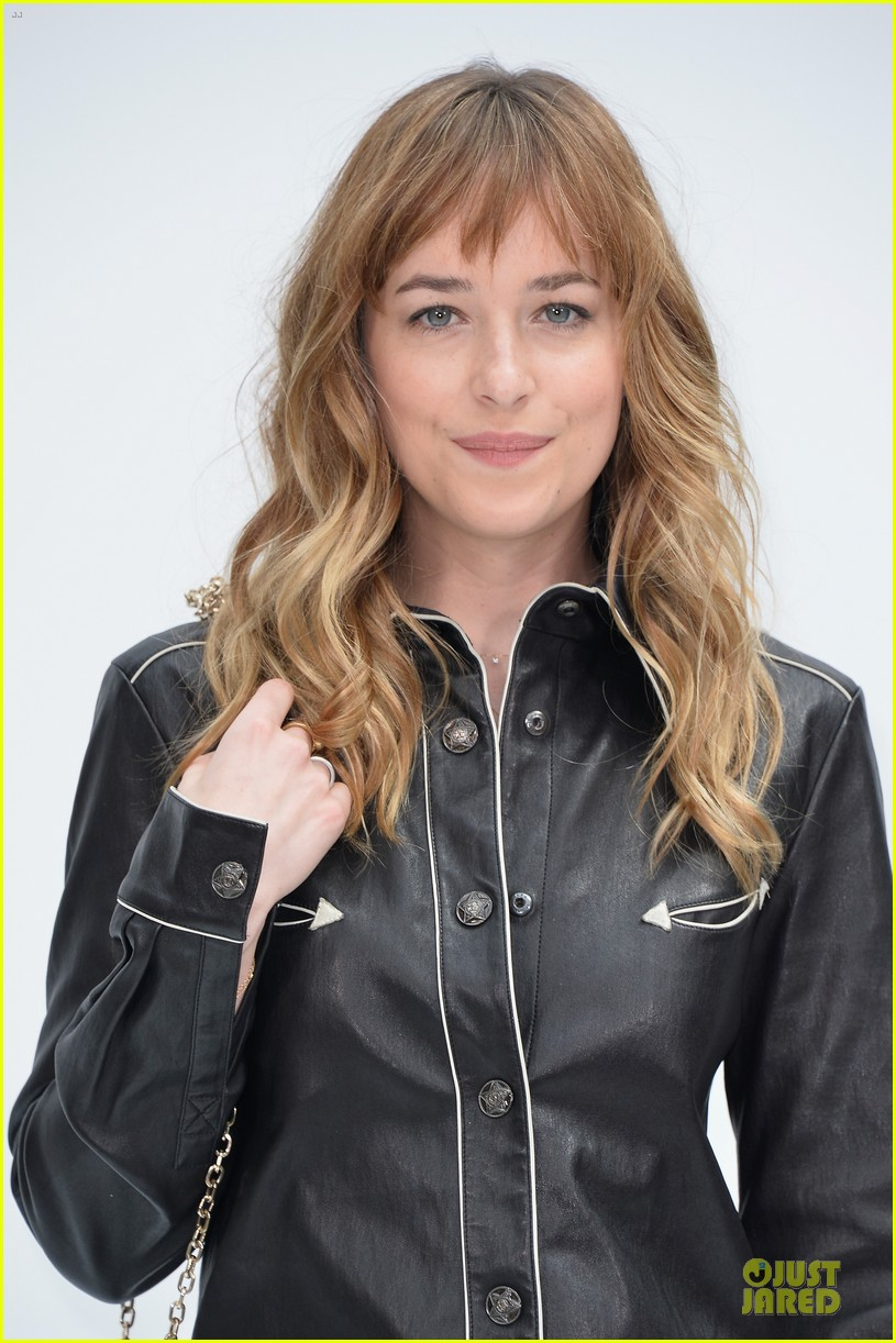 dakota johnson sexy leather outfit at chanel show 06