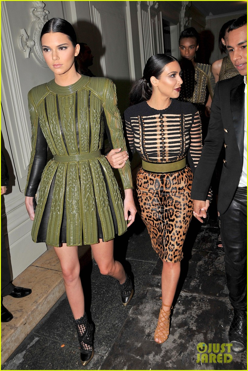 kim kardashian kendall jenner balmain paris fashion week 04