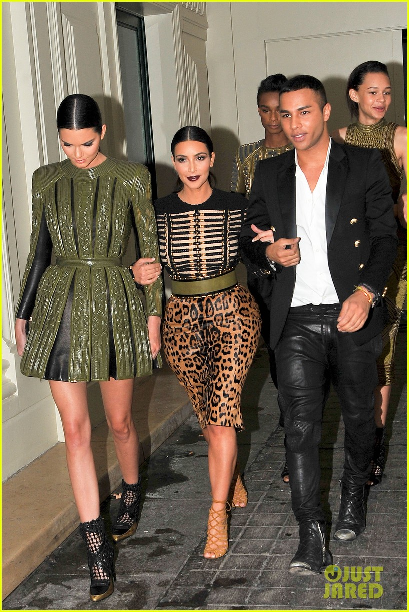 kim kardashian kendall jenner balmain paris fashion week 05