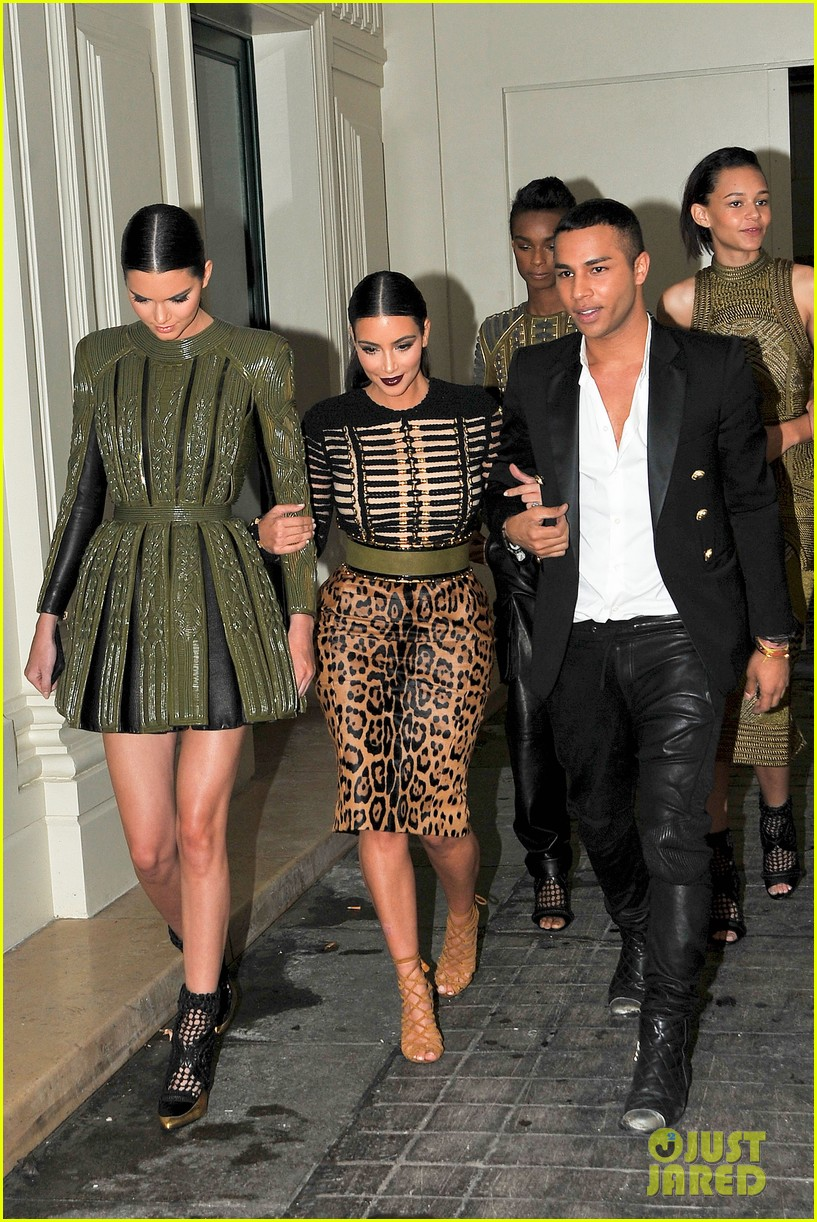 kim kardashian kendall jenner balmain paris fashion week 21