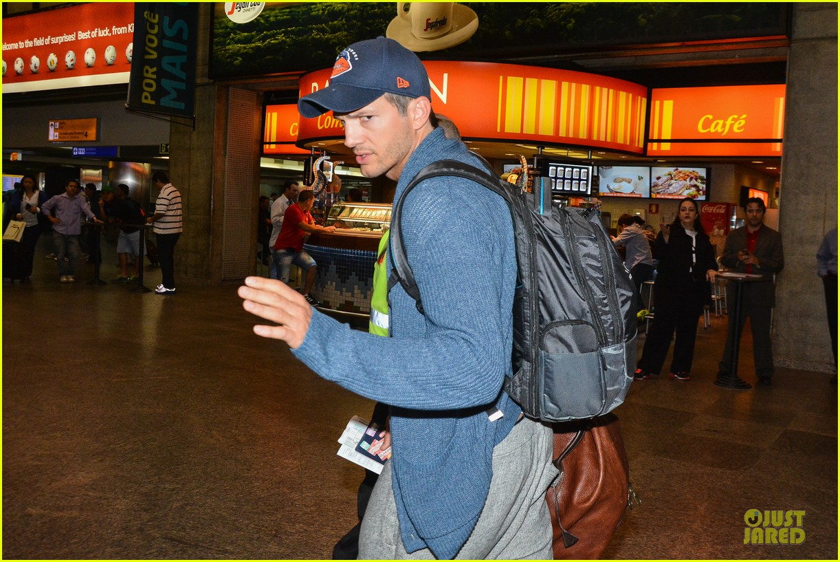 ashton kutcher gets ready for fifa world cup finals 11