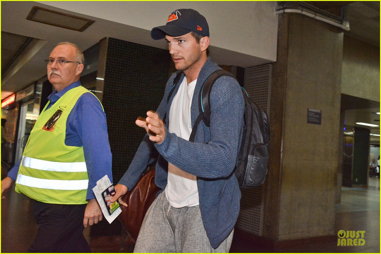 ashton kutcher gets ready for fifa world cup finals 14
