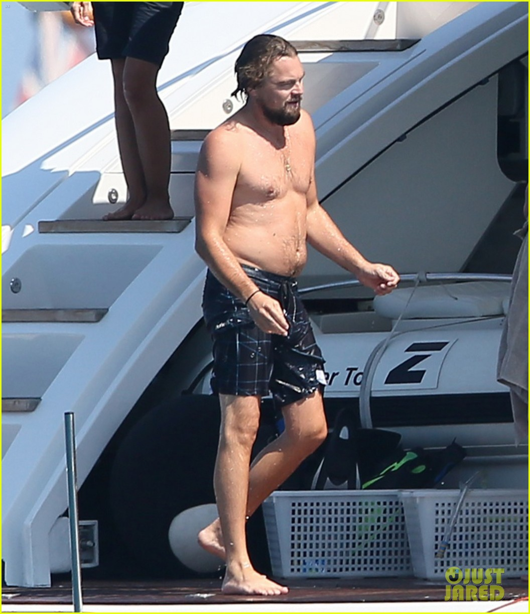 leonardo dicaprio goes shirtless with toni garrn for relaxing yacht day 01