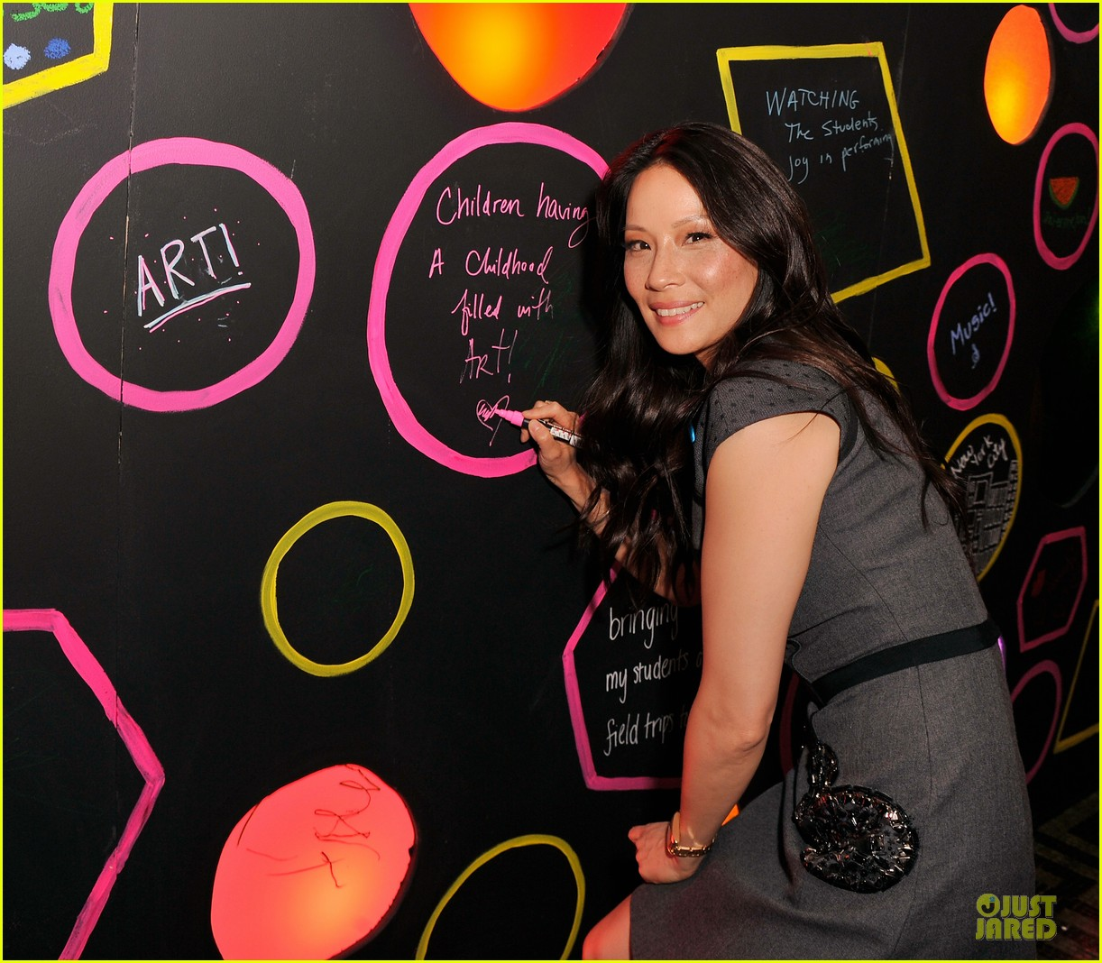 lucy liu shows support for bam education 09