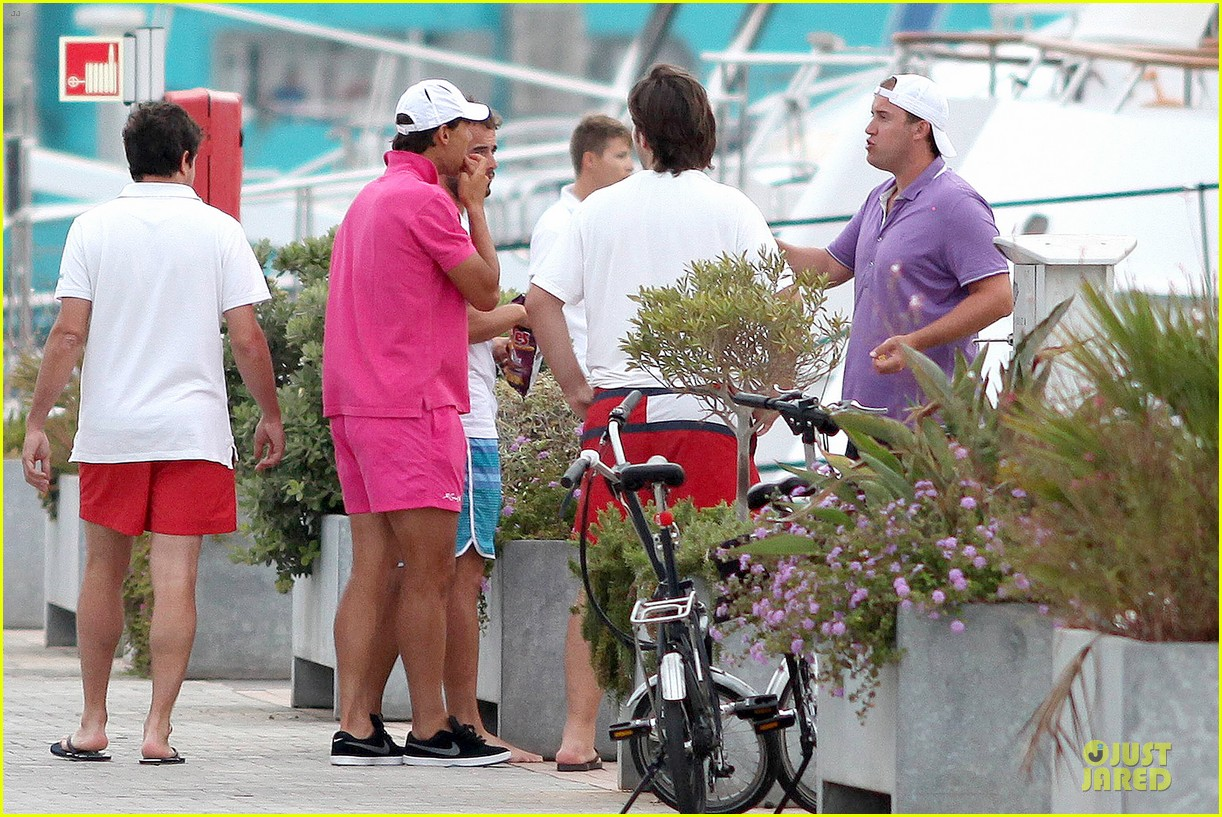 rafael nadal confident shirtless pink during ibiza vacation 28