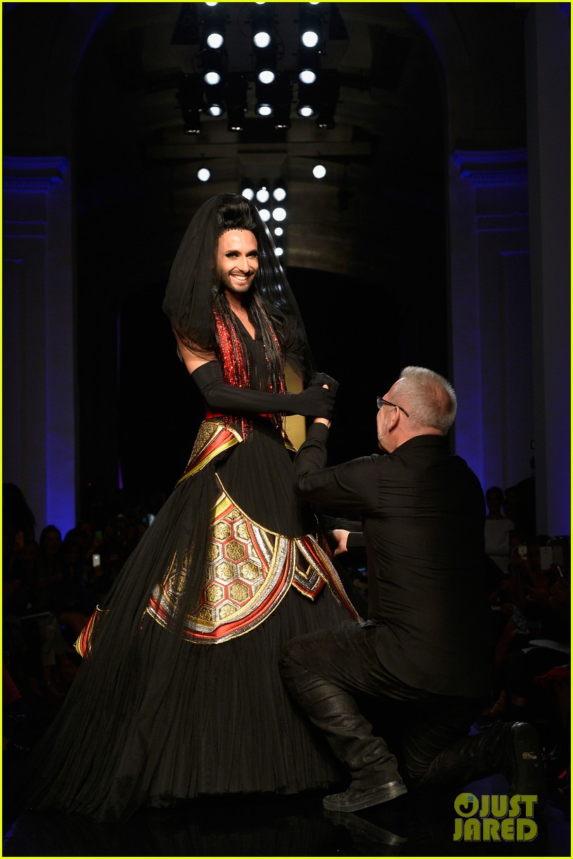 bearded drag queen conchita wurst walks jean paul gualtier show runway 043152317
