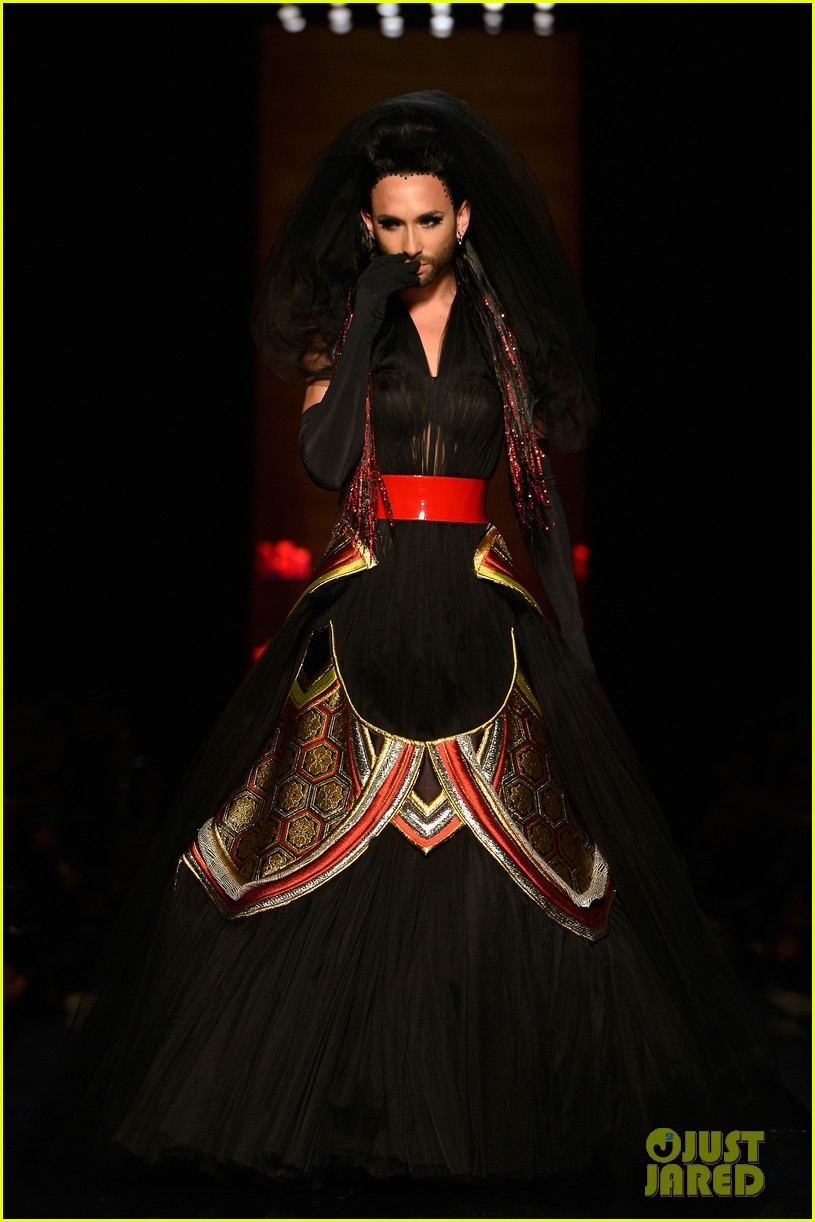 bearded drag queen conchita wurst walks jean paul gualtier show runway 123152325