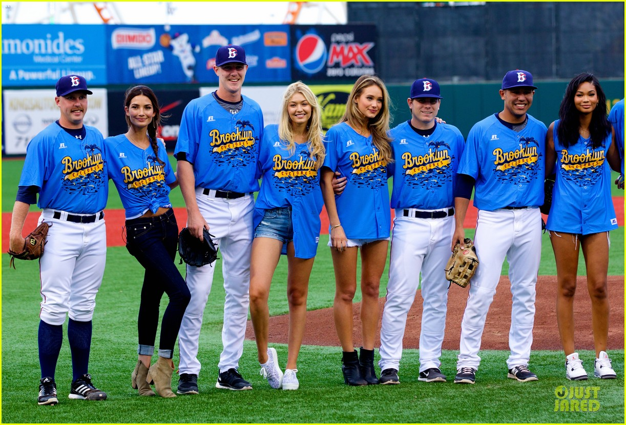 lily aldridge gigi hadid throw out first pitch at baseball game 273181373