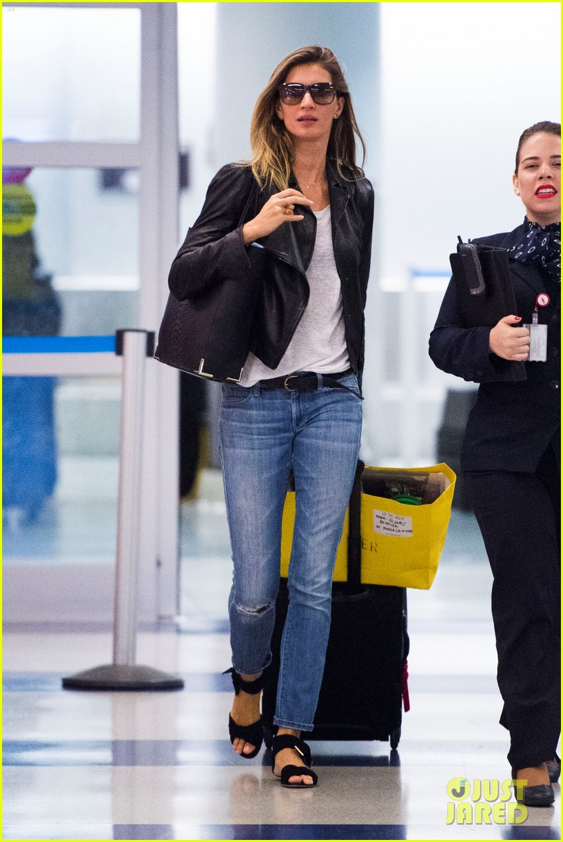 gisele bundchen lands in leather after short trip to brazil 01