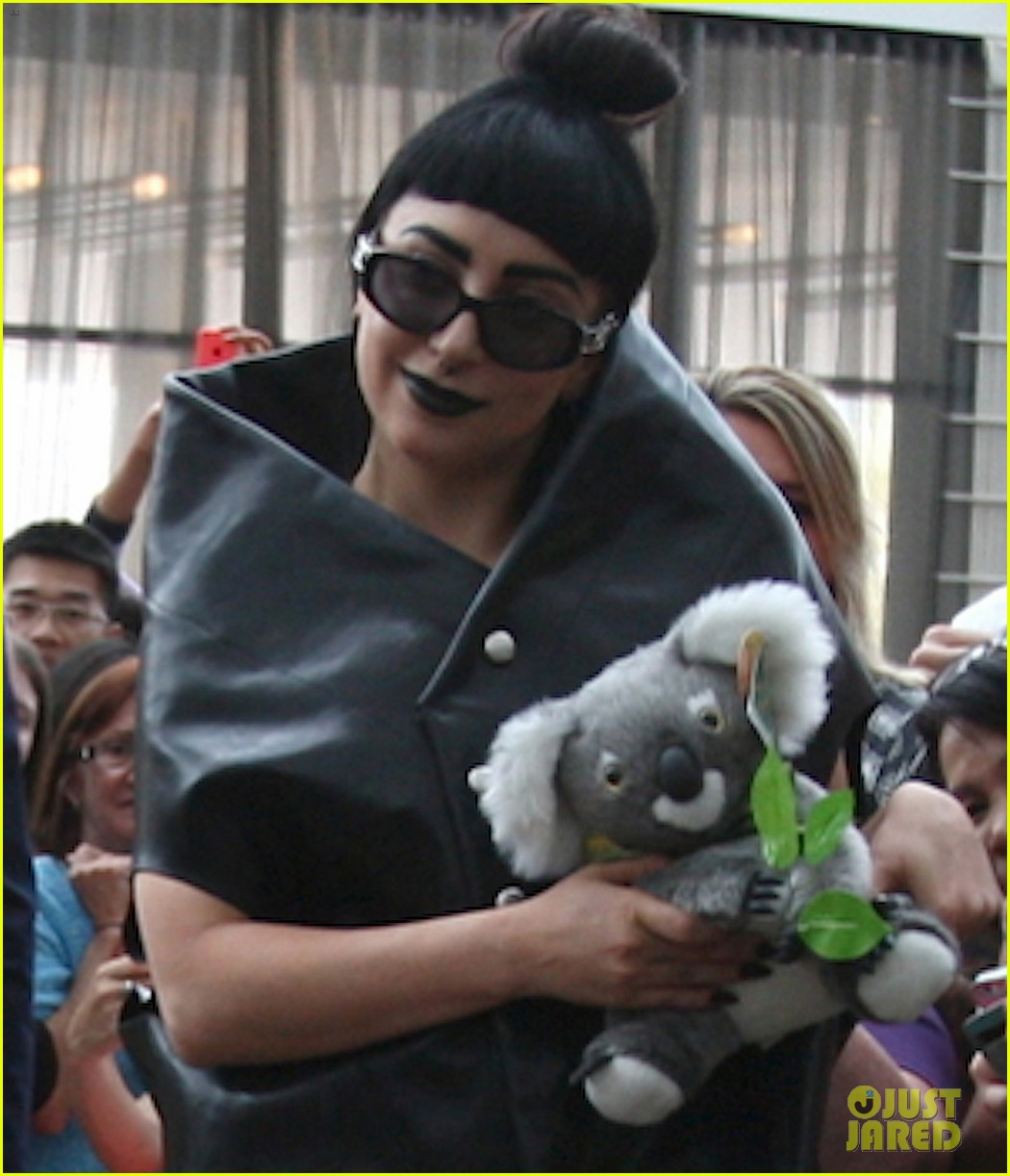 lady gaga stuffed koala bear arrival australia 03
