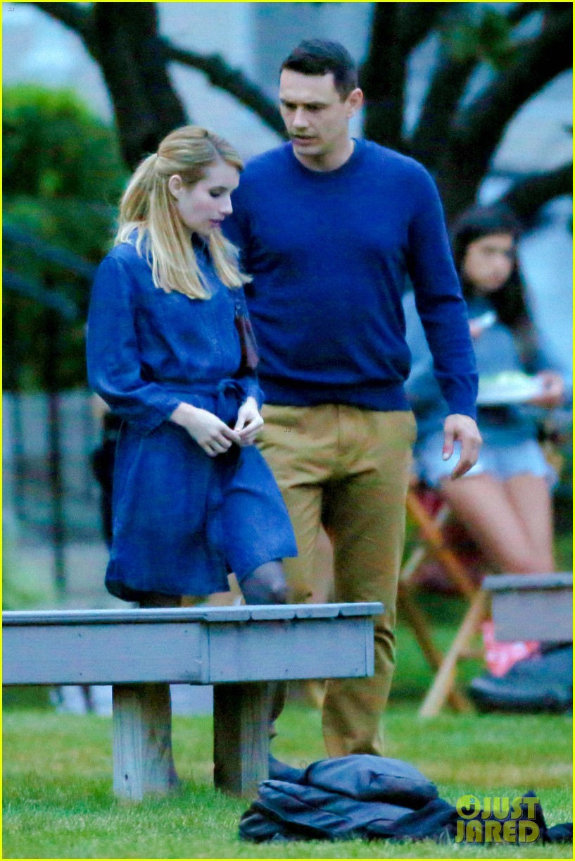 james franco emma roberts kiss park michael filming 243187019
