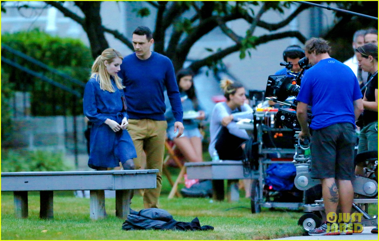 james franco emma roberts kiss park michael filming 283187023
