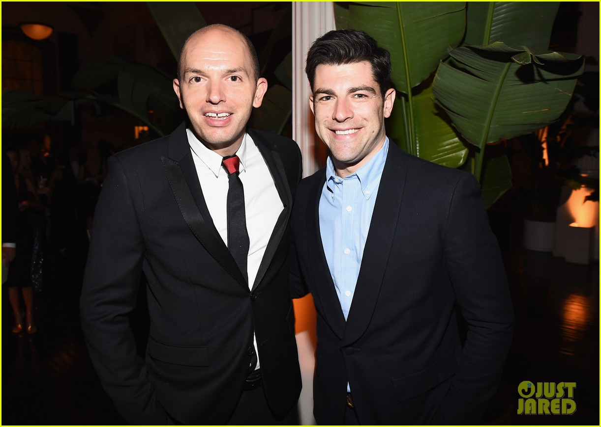 new girls max greenfield brings wife tess sanchez to emmys 2014 after party 043184274