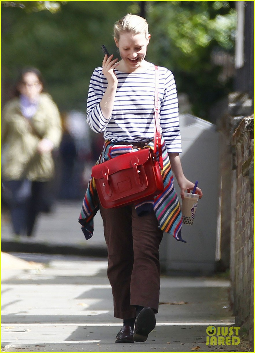 mia wasikowska funny phone call london coffee 103184738