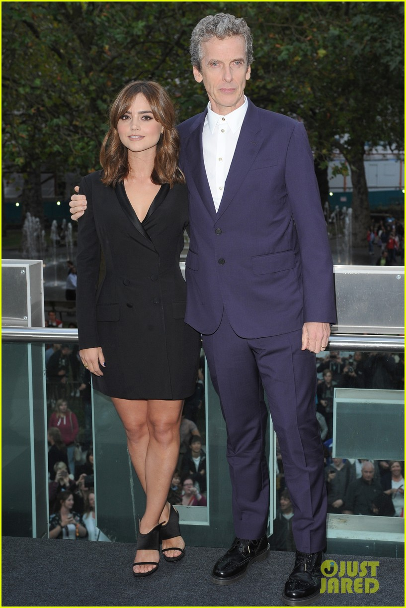 jenna coleman peter capaldi dr who london last premiere 12