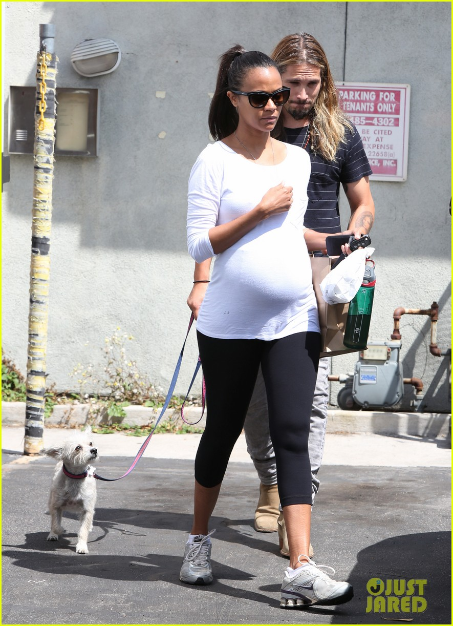 zoe saldana preps for baby at moms the word 10