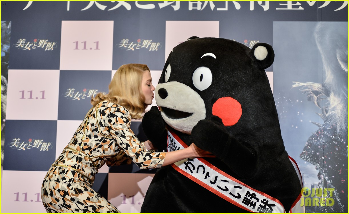 lea seydoux snuggles mascot kumamon at beauty and the beast 053189030