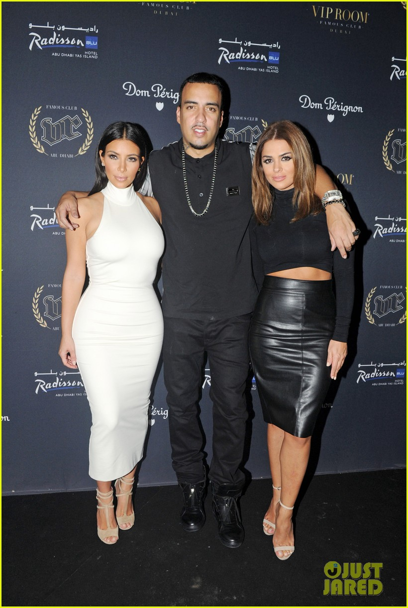 kim kardashian parties with french montana surprises the troops 013249017