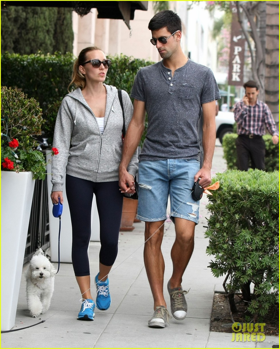 novak djokovic goes for romantic dog walk with wife jelena