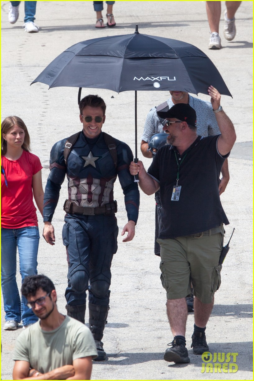 chris evans anthony mackie get to action captain america civil war 403370468