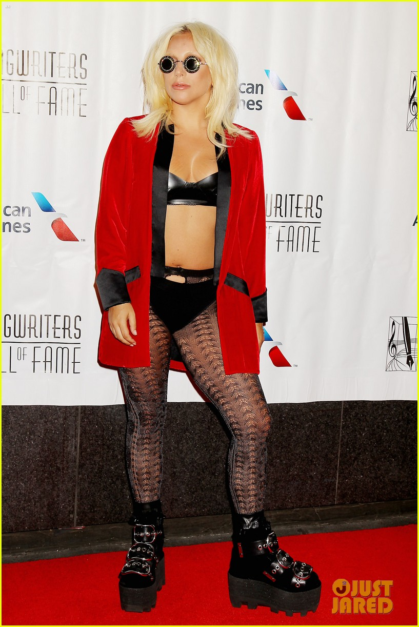 lady gaga wears bra fishnets for latest red carpet event 03