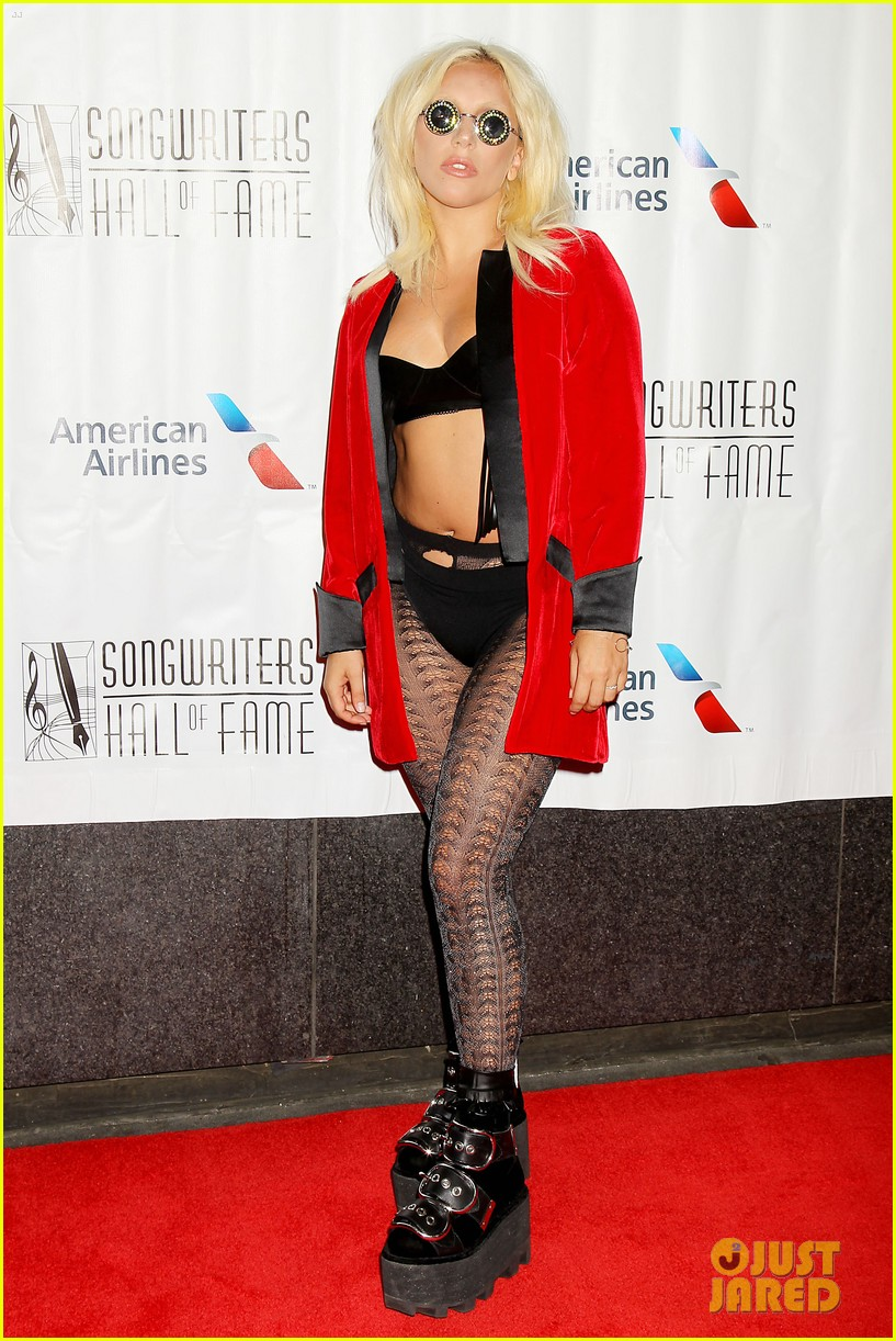 lady gaga wears bra fishnets for latest red carpet event 05