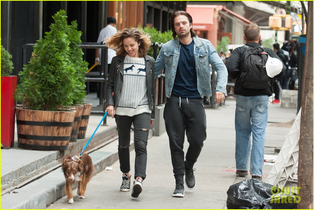sebastian stan girlfriend margarita levieva stroll through nyc with their pup photo 3476113. Black Bedroom Furniture Sets. Home Design Ideas