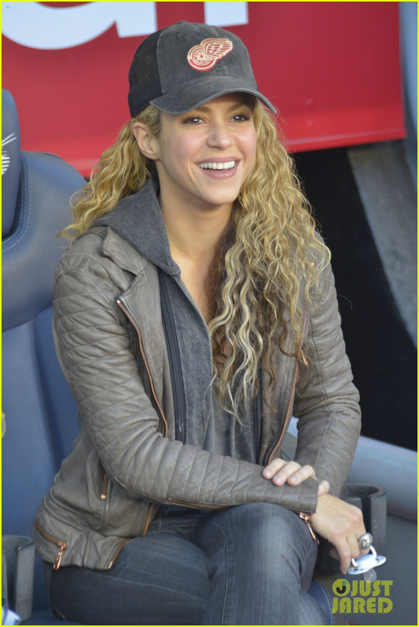 Shakira Supports Gerard Pique with Their Sons Milan Sasha Photo