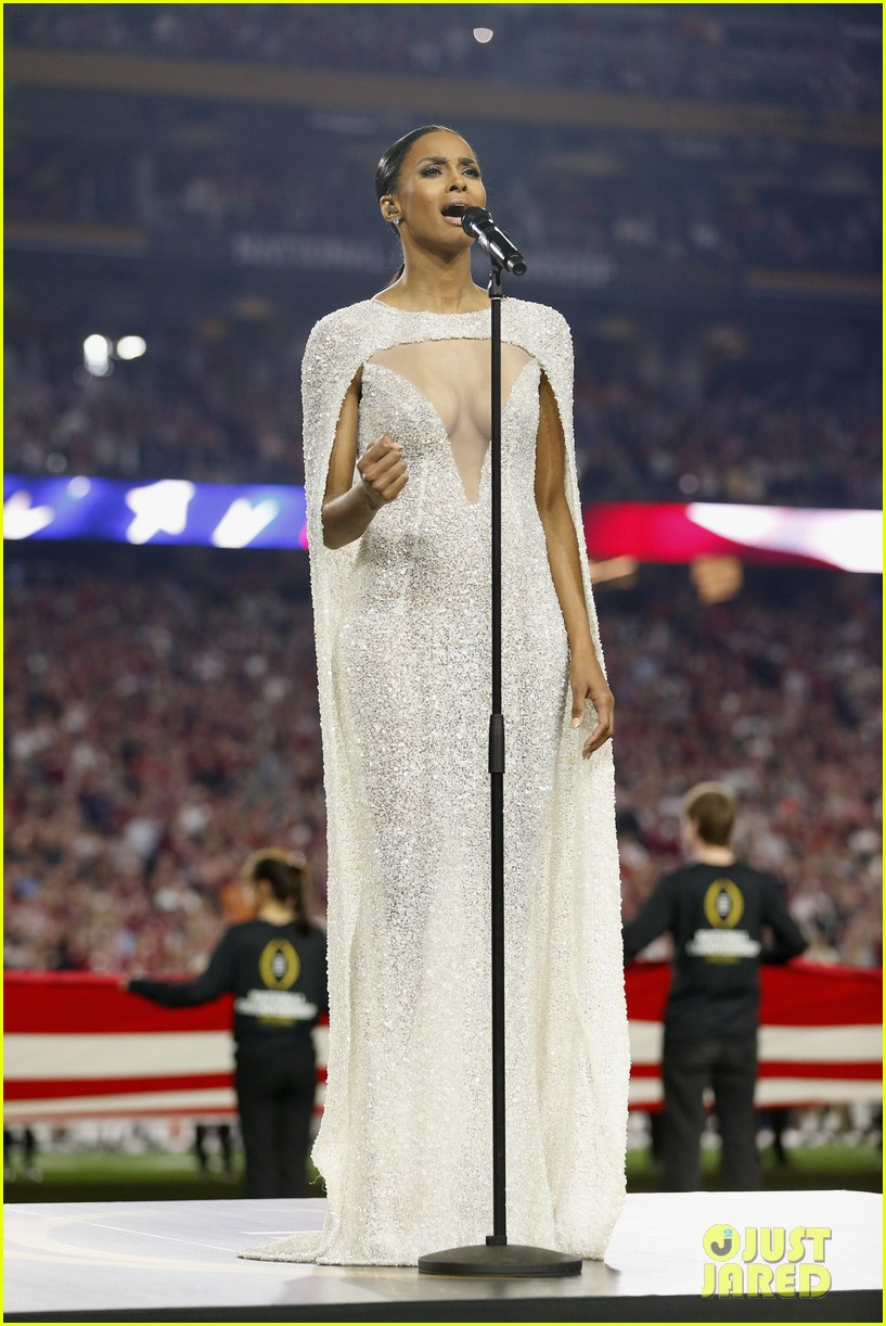 The dress controversy - Russell Wilson Stands By Ciara After Her National Anthem Dress Controversy Photo 3550612 Ciara Football Russell Wilson Pictures Just Jared