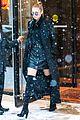 gigi hadid rocks leather in snow during nyfw 15