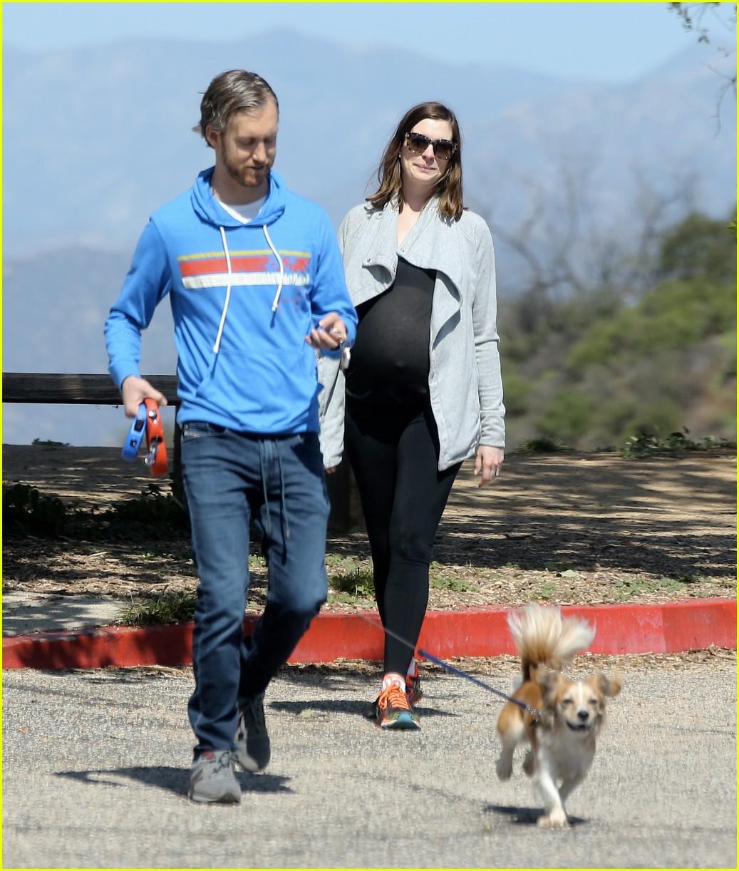 Anne Hathaway And Husband Adam Shulman Hold Hands As They: Anne Hathaway Hikes With Husband, Dogs & Growing Baby Bump