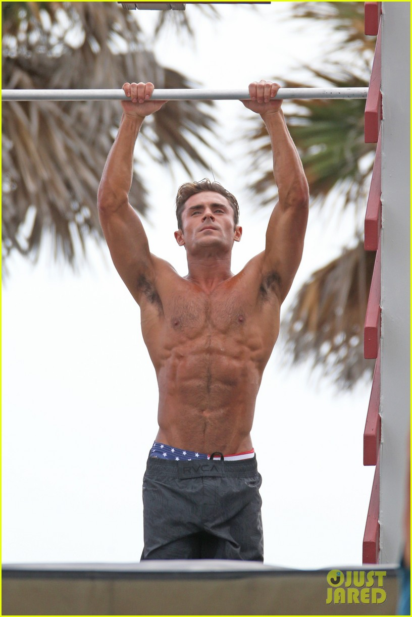 Full Sized Photo of zac efron abs shirtless obstacle