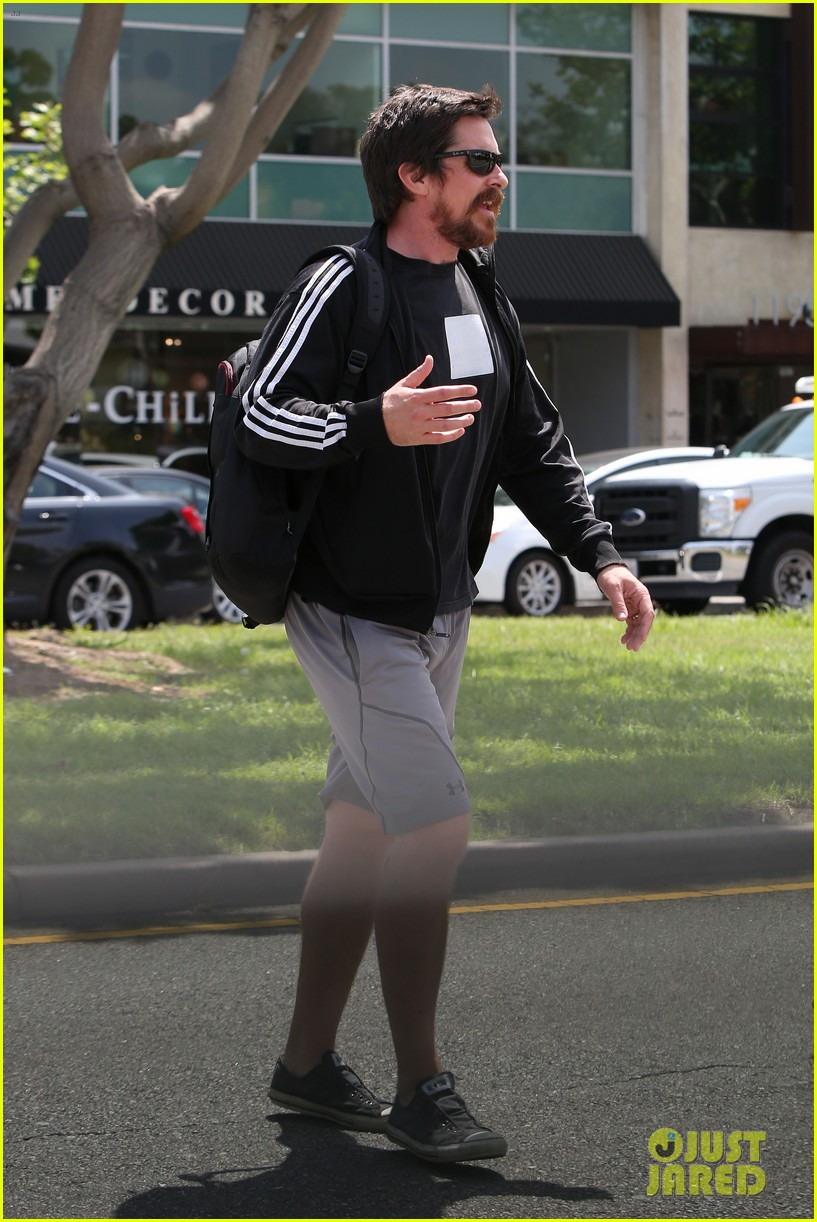 christian bale steps out in his workout gear for a meeting 253632321