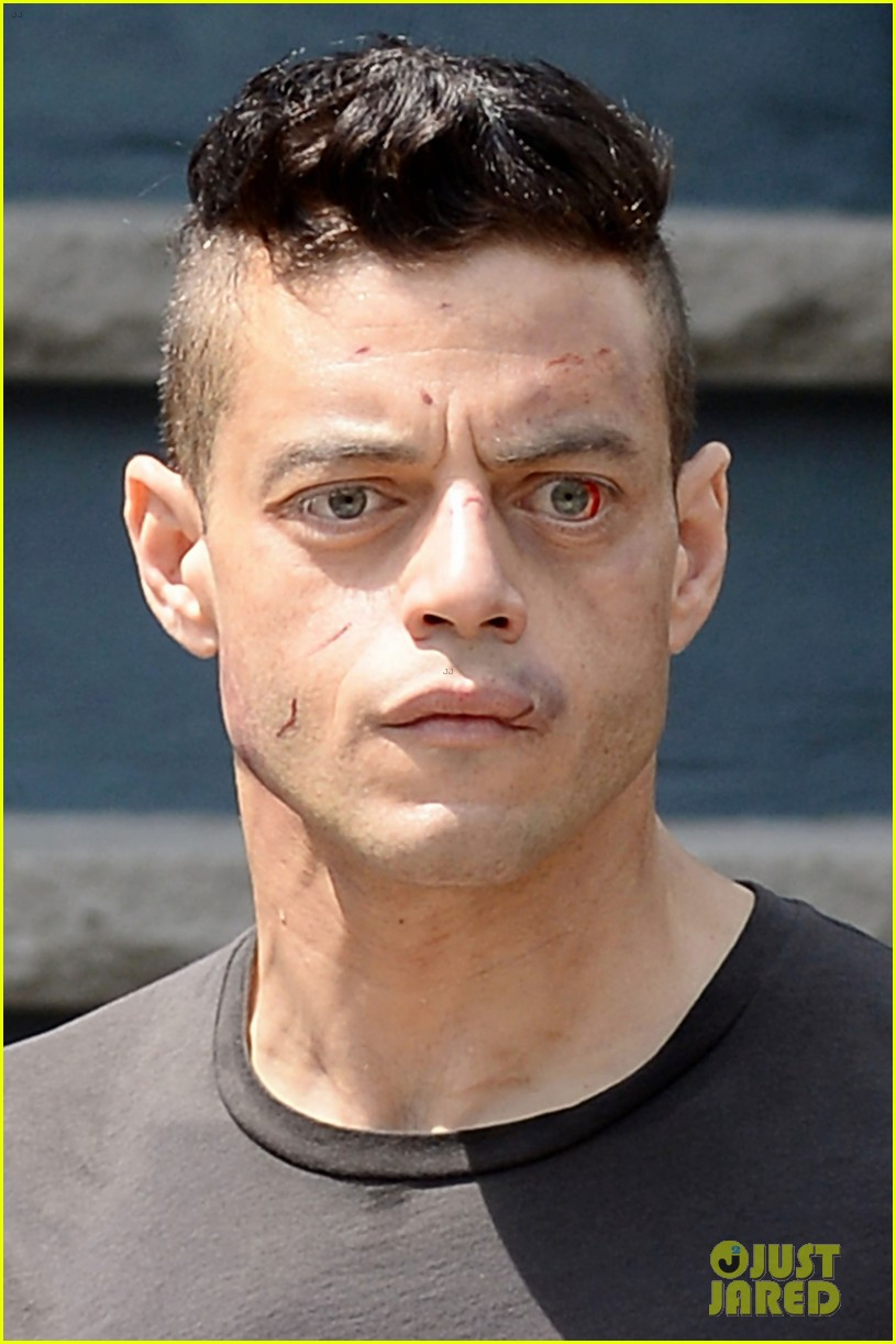 rami malek looks a little beat up while filming mr robot