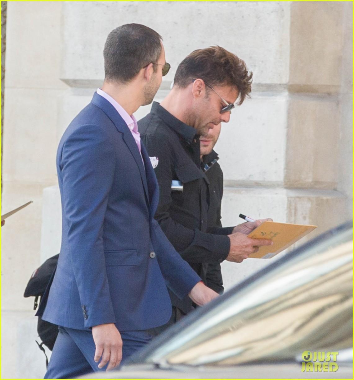 ricky martin boyfriend jwan yosef grab lunch after balmain fashion show 073693571