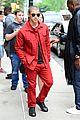 nick jonas red suit aol build appearance 15