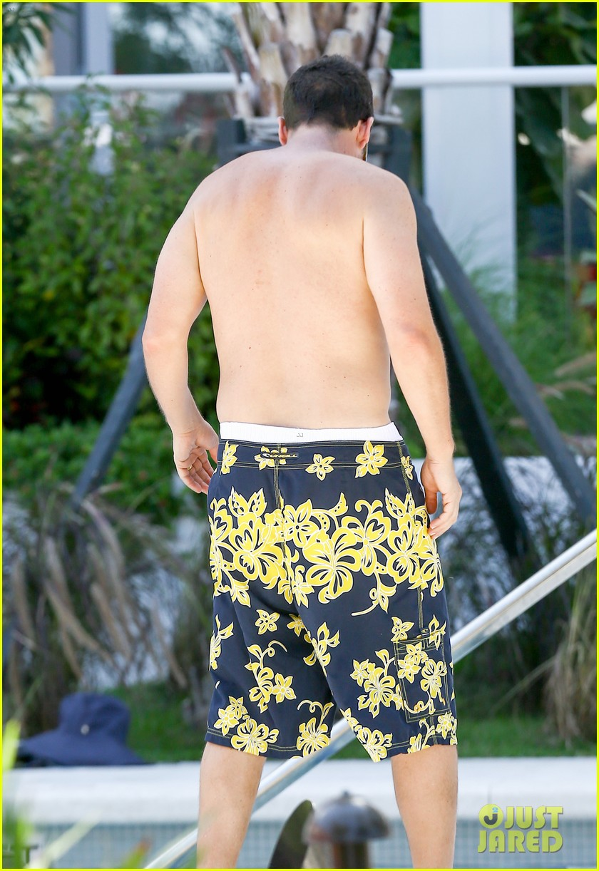 Full Sized Photo of adam sandler goes shirtless for miami ... Adam Sandler