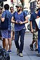 joel edgerton sports stripes while out and about in soho 03