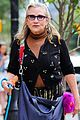 carrey fisher takes her bulldog for a walk around nyc 01
