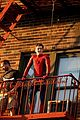 tom holland performs his own spider man stunts on nyc fire escape 11