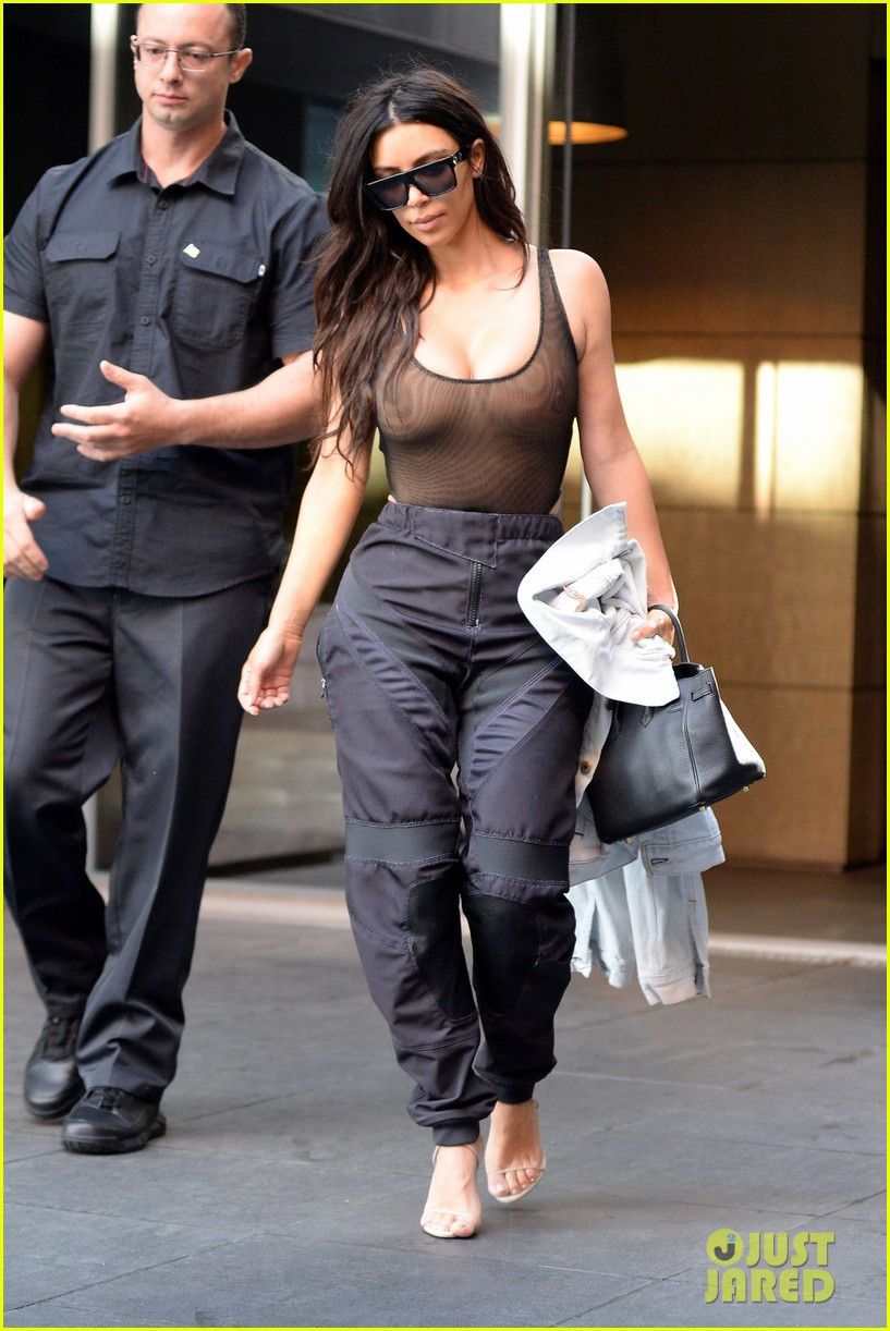Kim Kardashian Goes Braless While Wearing a See