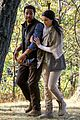 jaimie alexander crawls around the woods while filming for blindspot 15